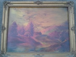 Régi festmény 60x 80 cm plusz keret