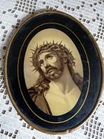 Antik Jézus portré, ovális kép, fém keretben 13x10 cm