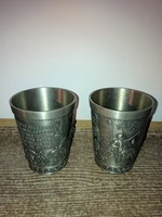 2db Frieling Zinn 95% német ón pohár díszes domború mintával