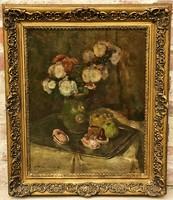 Csallóközi Farkas Lőrinc (1898 - 1966) Virágcsendélet olajfestménye 65x55cm EREDETI GARANCIÁVAL !!