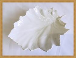 Német Höchst hófehér levél formájú porcelán tál