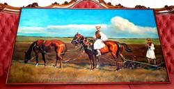 Juszkó Béla (1877-1969) - Tavaszi szántás c.olajfestménye 125x70cm