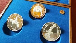 5 db Nagy Ezüst Millecentenárium Érem Luxus Kollekció, RITKA Emlékérem Gyűjtemény, Fa Díszdoboz