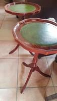 Zöld bőrlapos kis körasztal / 2 db/