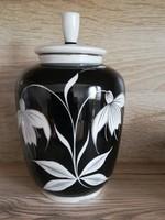 Fekete fehér aranykontúros fedeles porcelán váza 18 cm
