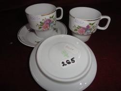 Hollóházi porcelán kávés pohár alátét, kék virágmintával.