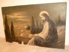 E10 Jézus az olajfák hegyén olajfestmény 68 x 48 cm KUDELÁSZ KÁROLY