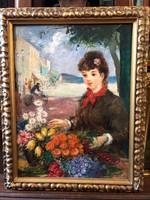 Jancsek Antal - Fiatal nő virágokkal