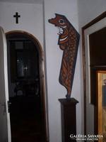 Toterm oszlop-Különleges formájú modern festmény Lehoczky Józseftől 140 x 60 cm