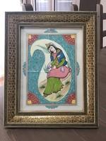 Indiai kézzel festett kép mozaik intarzia kertben