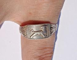 Vadmacskás állítható méretű ezüst gyűrű