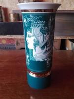 Hollóházi Szász Endre porcelán zöld váza 20cm