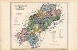 Trencsén vármegye térkép 1904, megye, Nagy - Magyarország, eredeti, Kogutowicz Manó, atlasz