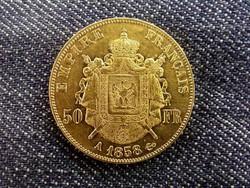 Franciaország, III. Napóleon arany (.900) 50 Frank 1858 A/id 9746/