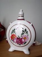 Kézzel festett jelzett porcelán kulacs