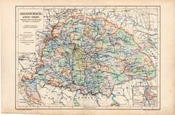 Magyarország átnézeti térképe 1904, megye, Nagy - Magyarország, eredeti, Kogutowicz Manó, térkép