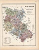 Szepes vármegye térkép 1904, megye, Nagy - Magyarország, eredeti, Kogutowicz Manó, atlasz