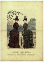 Különleges,egyedi,1886-os,Szeptember, 29 x 41 cm.-es, színes, divatkép, lakása díszítéséhez.
