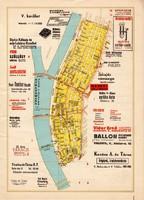 Budapest - V. kerület és VI. kerület térkép 1948, hirdetés, reklám, 24 x 33 cm, főváros, Pest, régi