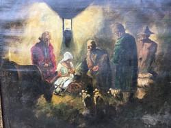 Jézus születése -olajfestmény -töredékes szignó...???Nagy Pál-1929-1979