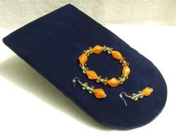 Bizsu ékszer szett Narancs  karkötő és fülbevaló