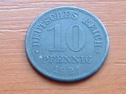 NÉMET BIRODALOM 10 PFENNIG 1921  CINK