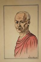 Szabó Vladimir , Vegyestechnika  papír. Mérete: 27x18 cm.