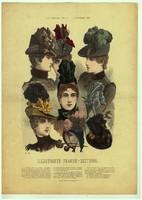 Különleges, egyedi,1886-os,November, 29 x 41 cm.-es, színes, divatkép, lakása díszítéséhez.