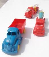 3 db régi retro trafikáru műanyag autó teherautó játék