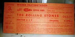 The Rolling Stones 1982 es bécsi turnéjának belépójegye a wiener praterstadionba
