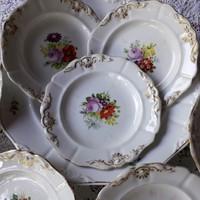 Altwien porcelán süteményes készlet, tányér készlet
