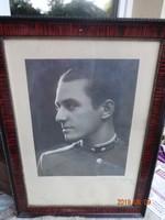 Régi, antik katonai fénykép, jelzett katona fotó, portré keretben, 1920-as évek
