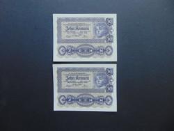 2 darab 10 korona 1922 Sorszámkövető Szép bankjegyek !!