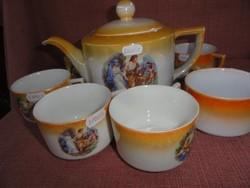 Drasche porcelán teás készlet, 7 darabos.