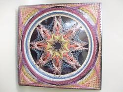 Retro fára készített selyem kép,csillag
