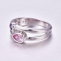 Rózsaszín lila köves gyűrű  6-os  ÚJ!