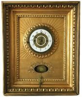 Biedermeier,ökörszemes ráma/keret/ óra,naptáras,negyedütő,működő