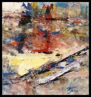 """""""Vihar a tengeren """" Koso festmény 80 x 76 cm keretes akció"""