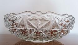Régi üvegtál üveg kerek kínáló vintage tál 24 cm