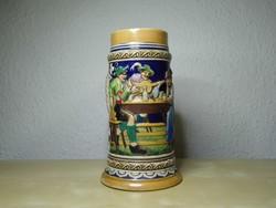 Antik német söröskorsó Marzi & Remy Gitár szerenád mintával