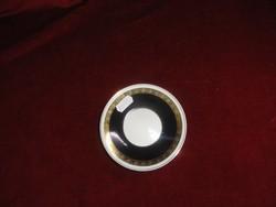 Hollóházi porcelán kávés pohár alátét, fekete-fehér színű.
