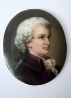 XIX.századi bieder miniatűr porcelán portré festmény