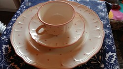 2 személyes, 2x3 részes Salins Les Bains francia porcelán/majolika teás, kávés reggeliző készlet