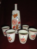 Hollóházi porcelán pálinkás üveg + 5 db. pálinkás pohár (virág mintás)