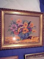 Goblen virág csendélet igényes munka üvegezett szép keretben