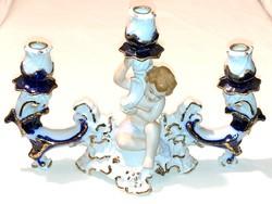 Háromágú puttós porcelán gyertyatartó - 27 cm - angyalkás