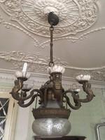 Antik bronz 6 ágú csillár eladó