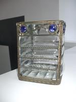Különleges üveg váza asztalközép tároló