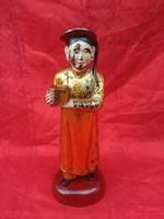 Antik 18.sz. Kínai laparanyozott fa szobor.