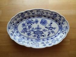 Régebbi csehszlovák hagymamintás porcelán ovális kínáló tál 23 x 35,5 cm